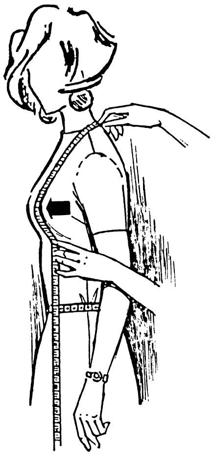 Eine DOB Zeichnung zeigt das Maßnehmen der Brusttiefe.