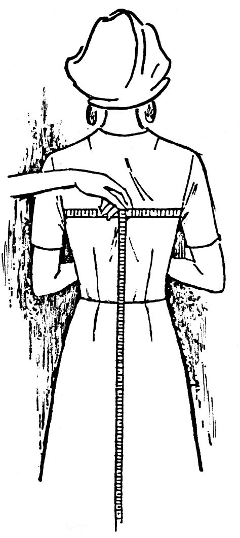 Eine DOB Zeichnung zeigt das Maßnehmen des Brustumfangs.