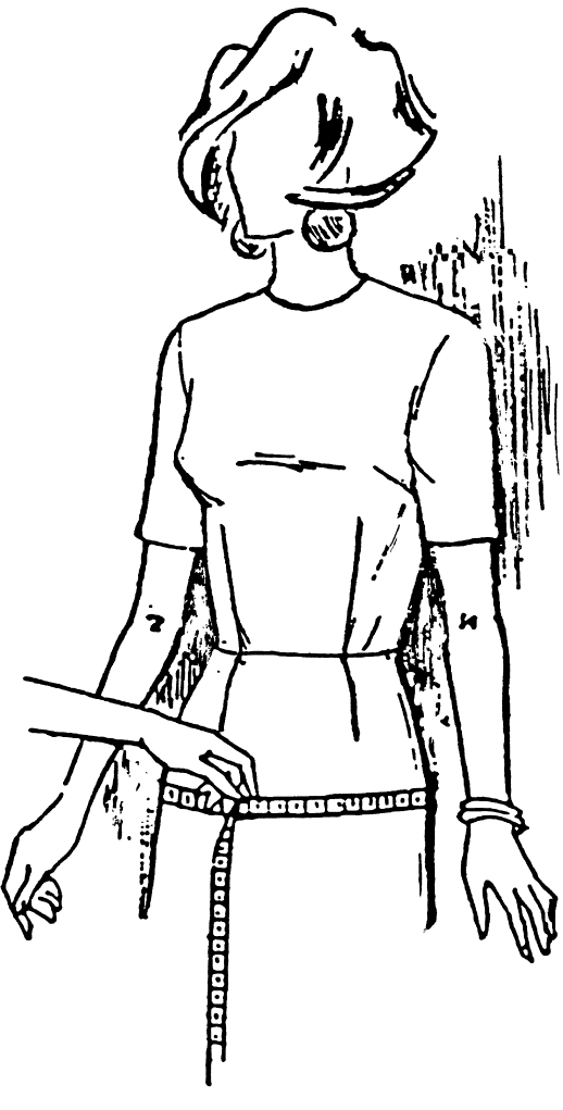 Eine DOB Zeichnung zeigt das Maßnehmen von Hüftumfang.