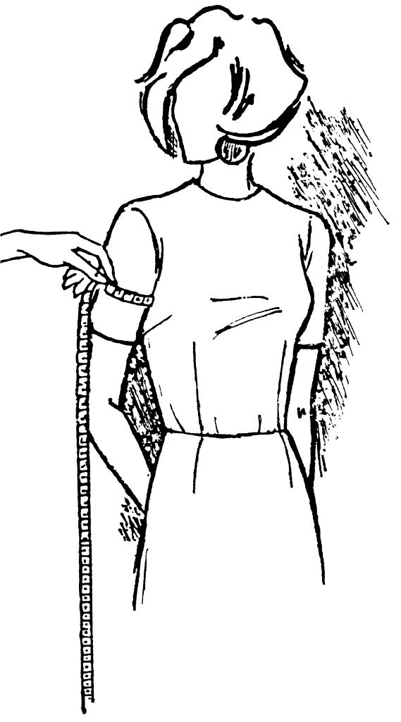 Eine DOB Zeichnung zeigt das Maßnehmen von Oberarmumfang.