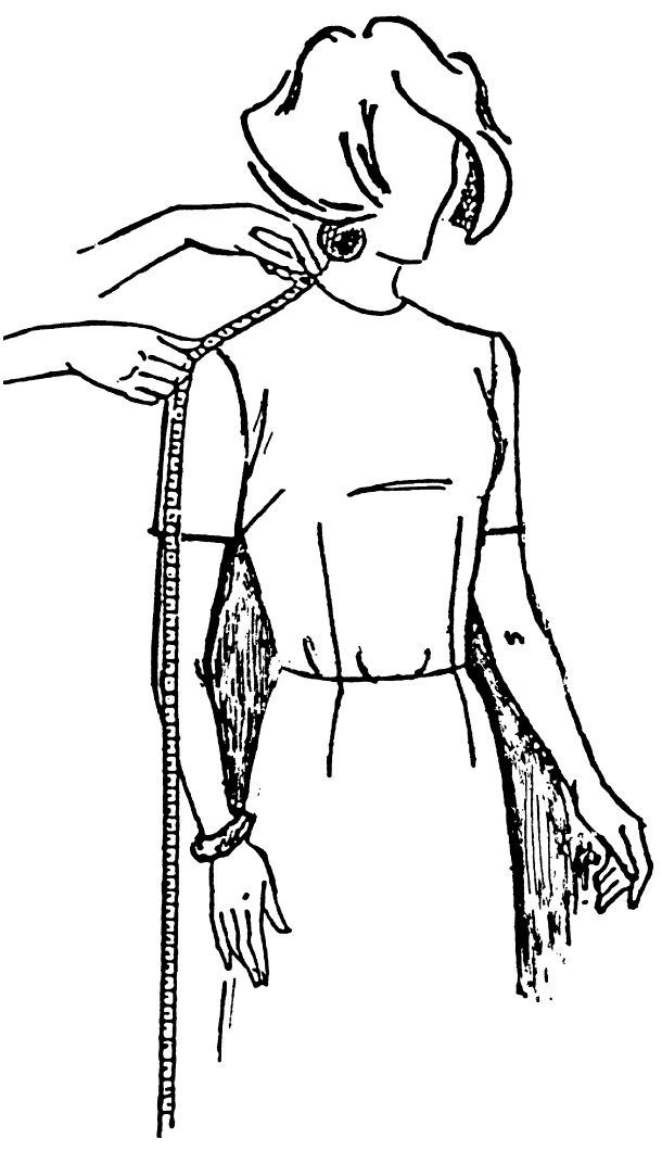 Eine DOB Zeichnung zeigt das Maßnehmen der Schulterbreite.