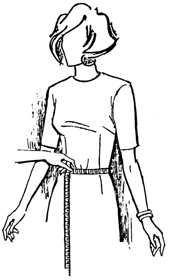 Eine DOB Zeichnung zeigt das Maßnehmen von Taillenumfang.