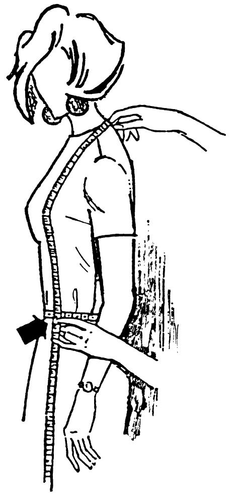 Eine DOB Zeichnung zeigt das Maßnehmen der Vorderlänge.