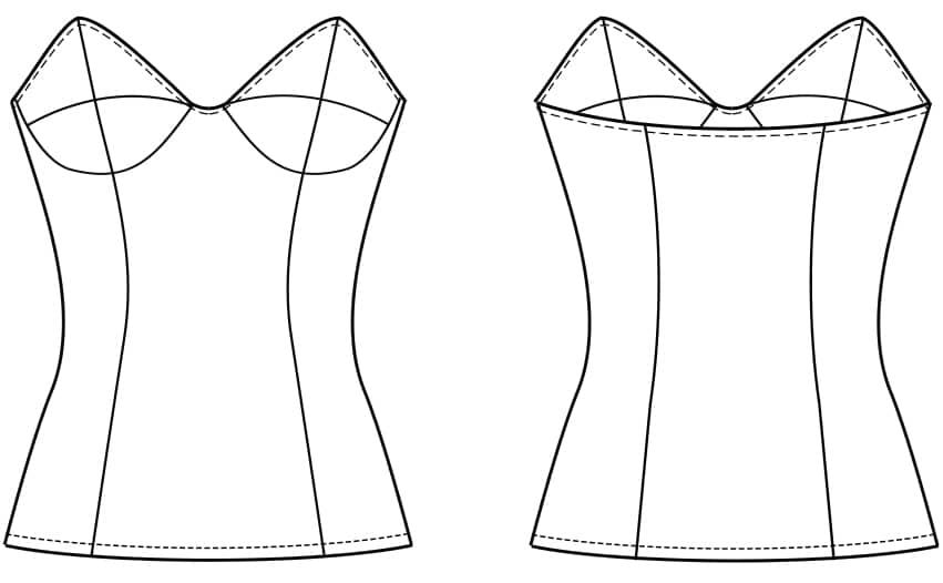 Das Foto zeigt die technische Zeichnung der Vorder- und Rückansicht eines Mieders