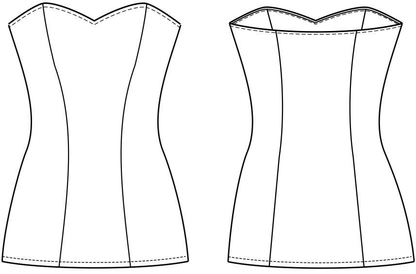 Das Foto zeigt die technische Zeichnung der Vorder- und Rückansicht eines Mieders.