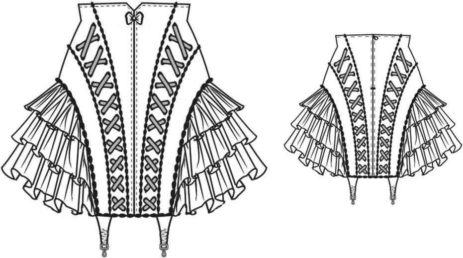 Gezeigt wird die Vorder- und Rückansicht der technischen Zeichnung eines Miderrockes mit Petticoat Rüschen.