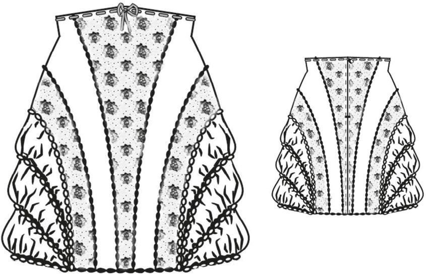 Gezeigt wird die Vorder- und Rückansicht der technischen Zeichnung eines Miderrockes mit gebauschtem Seitenteil.