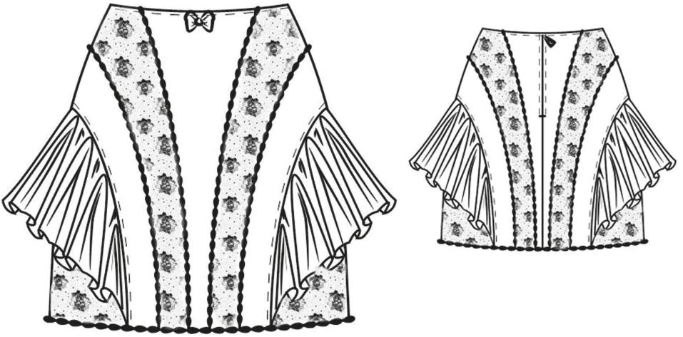 Gezeigt wird die Vorder- und Rückansicht der technischen Zeichnung eines Miderrockes.
