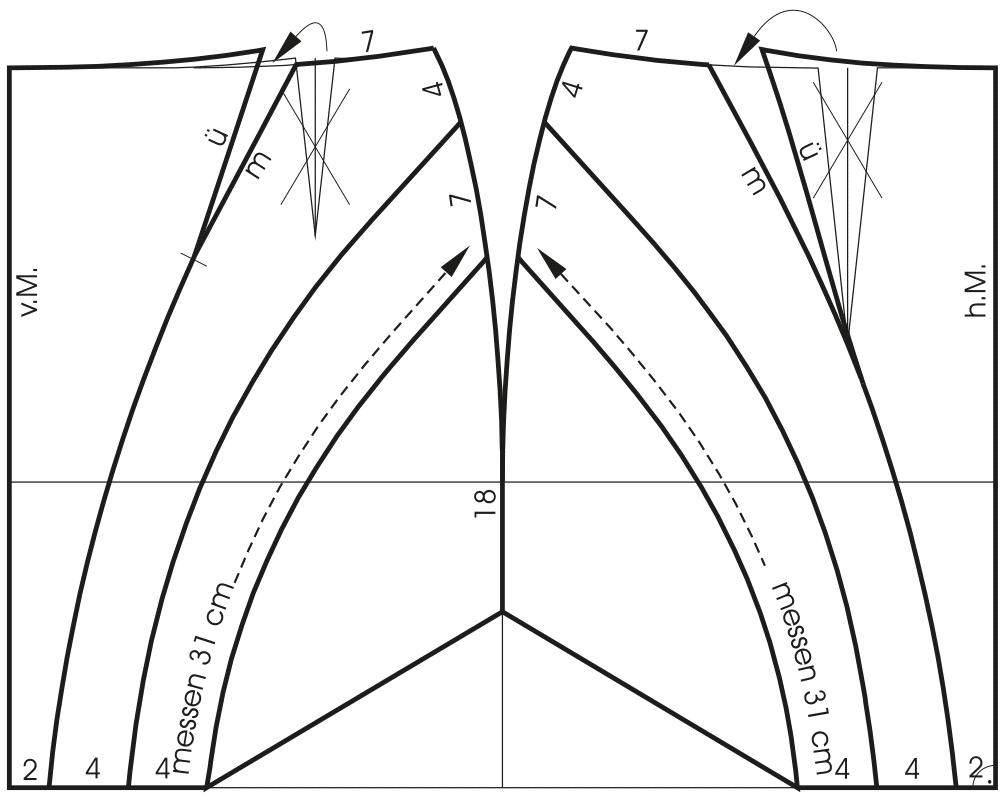 Abgebildet ist die Schnittkonstruktion eines Miederrockes.