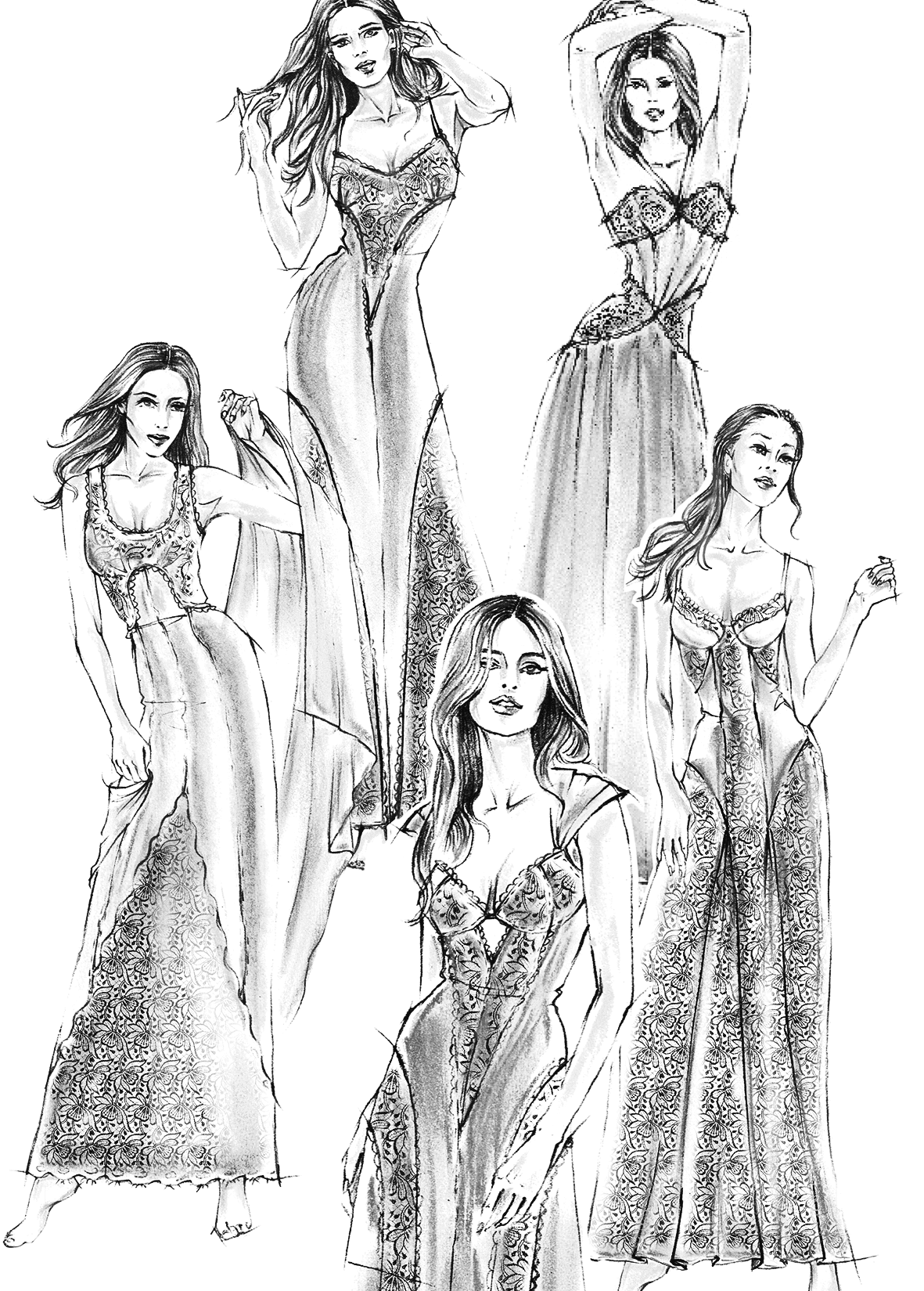 Die Abbildung zeigt vier technische Zeichnungen von Dessous oder Nachthemden zum nähen.