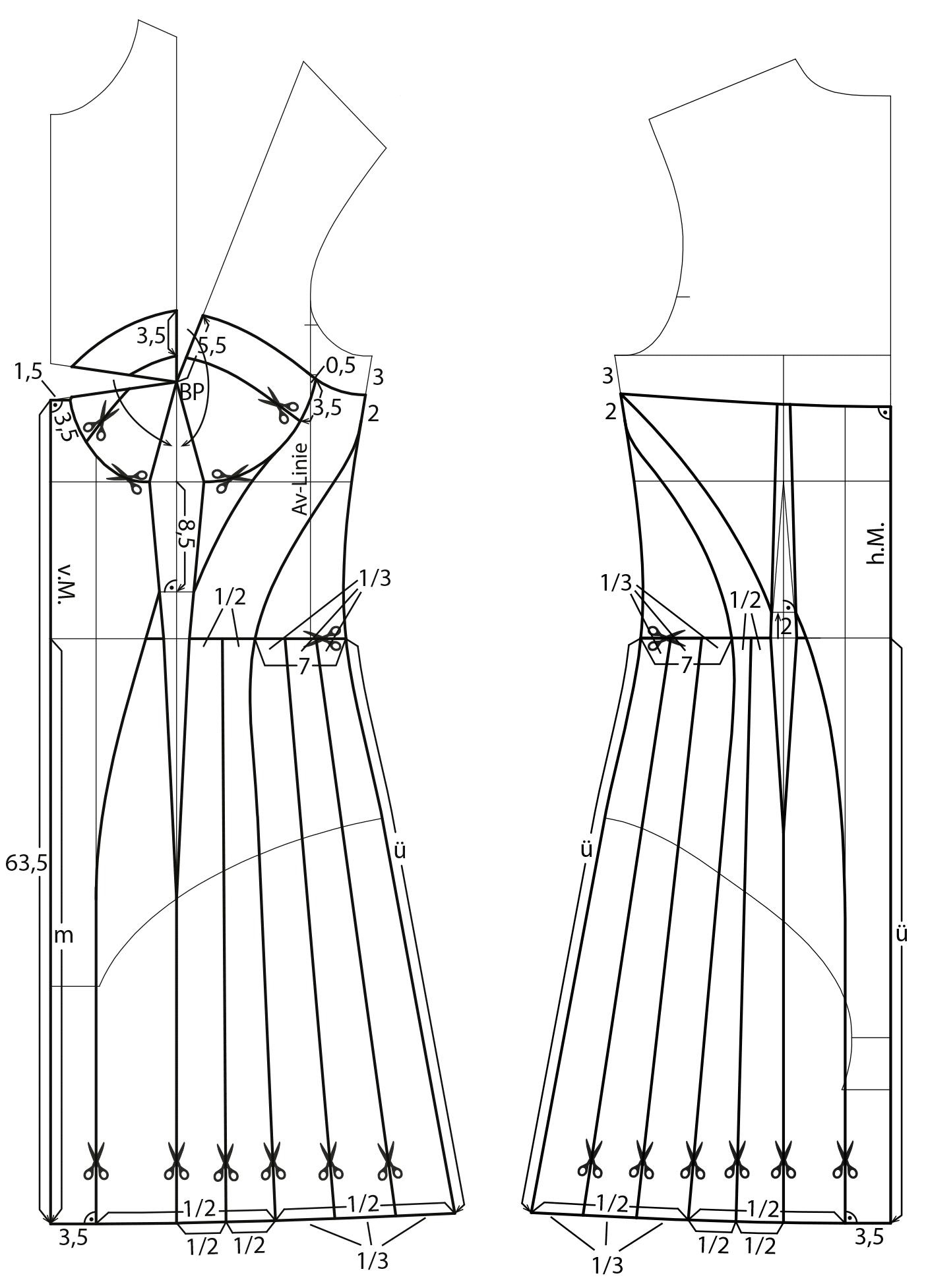 Das Foto zeigt die Schnittkonstruktion eines Neckholder Negliges.