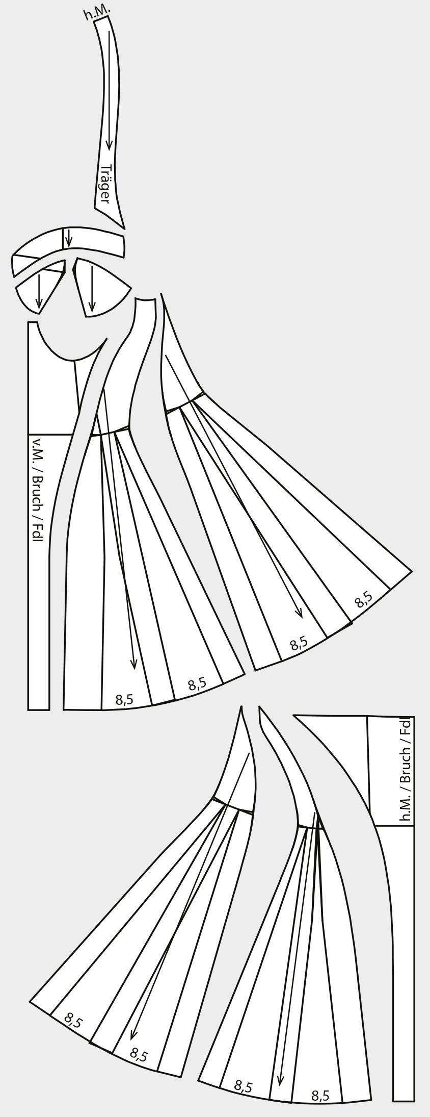 Das Foto zeigt die fertigen Schnittteile eines Neckhodler Negliges.