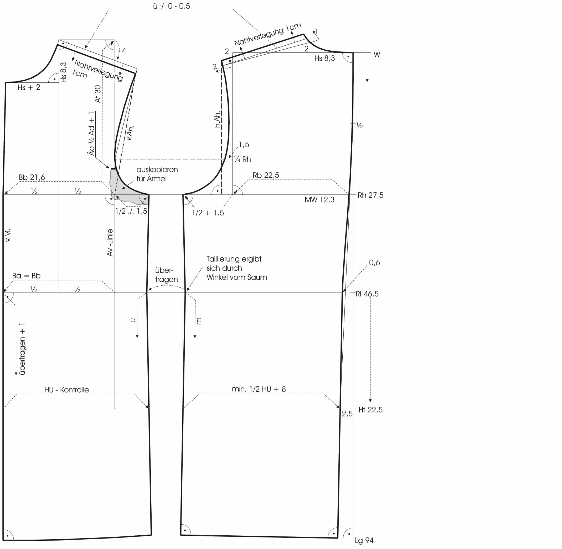 Abgebildet ist die Schnitt-Technik des Designermodells von dem Parka. Hier der Grundschnitt.