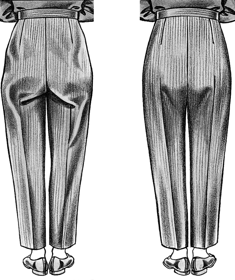 Die Abbildung zeigt die Rückansicht einer Damenhose mit Passformfehler und Passformoptimierung. Gezeigt wird die Korrektur des Schnittmusters.
