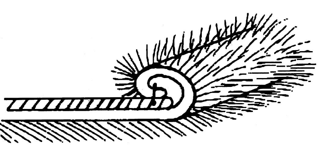 Die Zeichnung zeigt die Verarbeitung von Pelz per Handstiche.