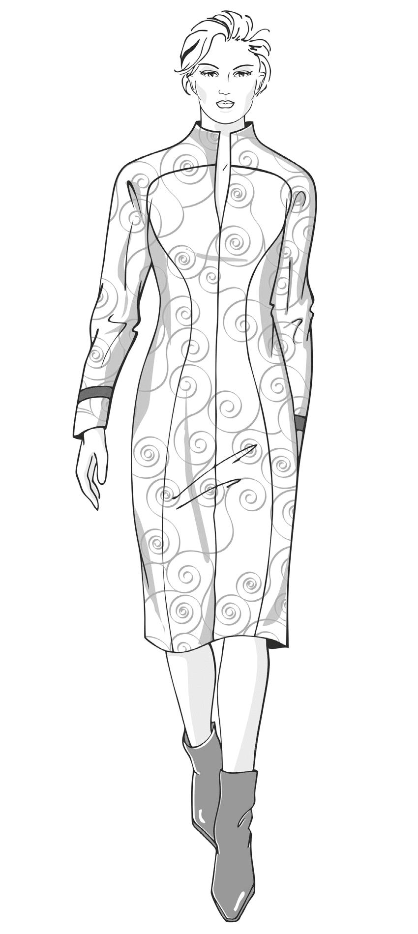Die Abbildung zeigt die technische Zeichung eins Kleides in Großer Größe, Plus Size. Sie dient als Vorlage für die Schnitt-Technik