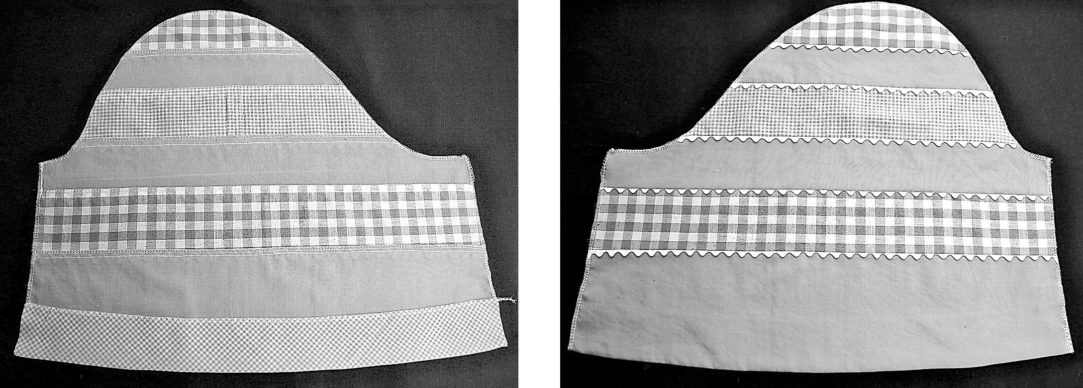 Zu sehen sind zwei Schnittteile aus Stoff mit Borten benäht.