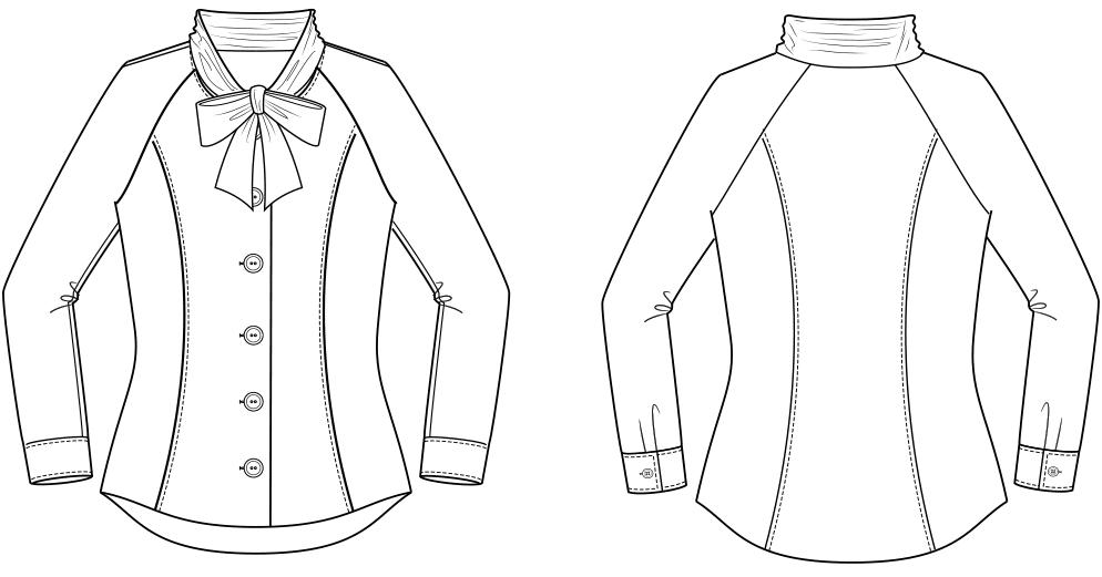 Technische Zeichnung Vorder- und Rückansicht einer Raglan Bluse für Große Größen. Die Vorlage für die Schnitt-Technik.