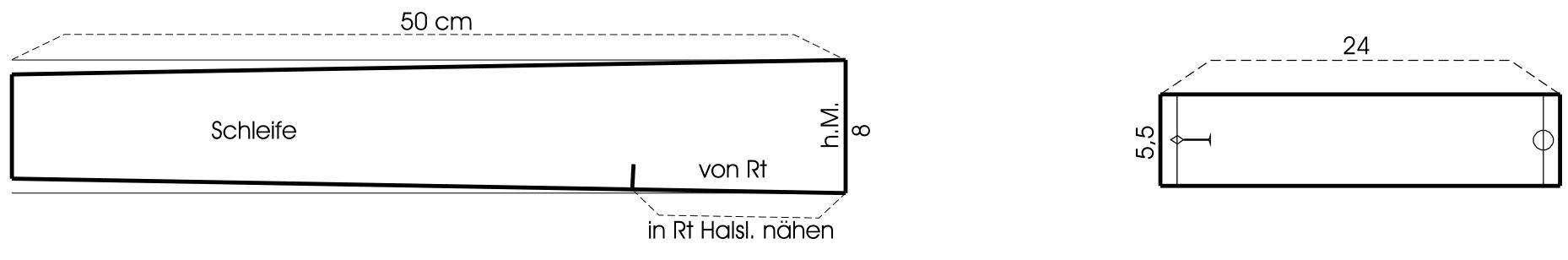 Die Abbildung zeigt die Schnitt-Technik eines Kragens und einer Manschette für Große Größen.