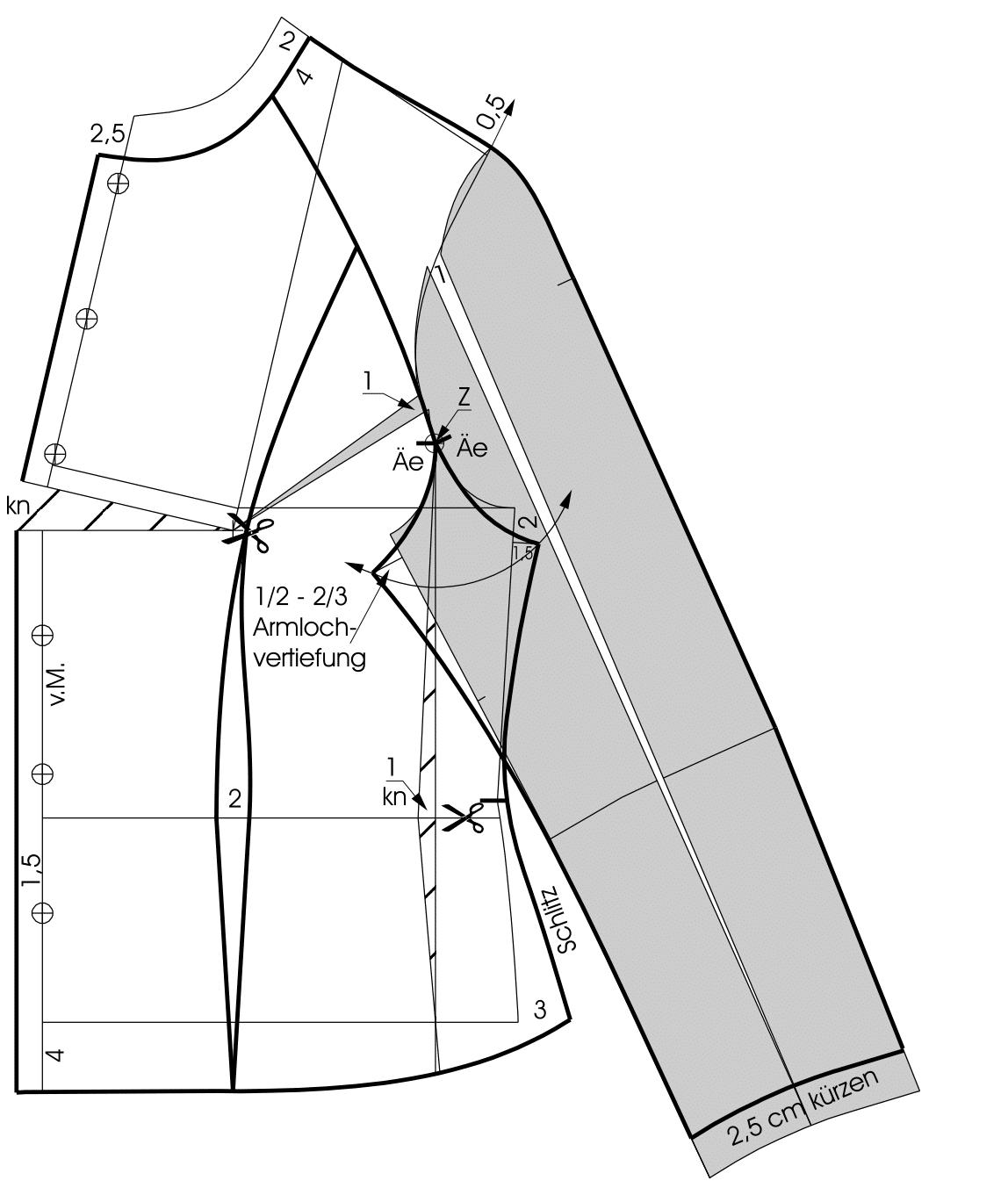 Die Zeichnung zeigt die Schnittkonstruktion einer Raglan Bluse für Große Größen.
