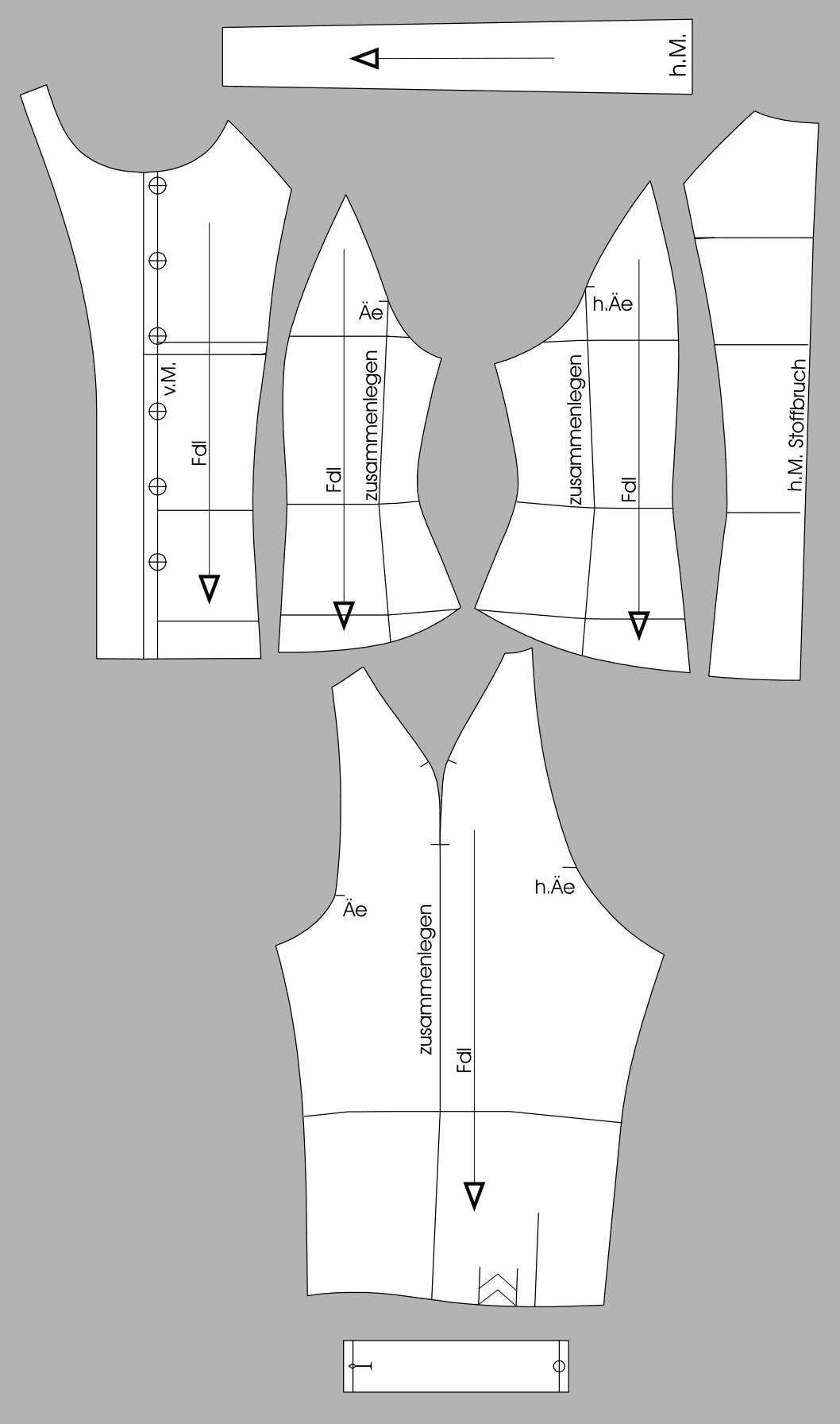 Die Abbildung zeigt die fertigen Schnittteile einer Raglan Bluse für Große Größen.