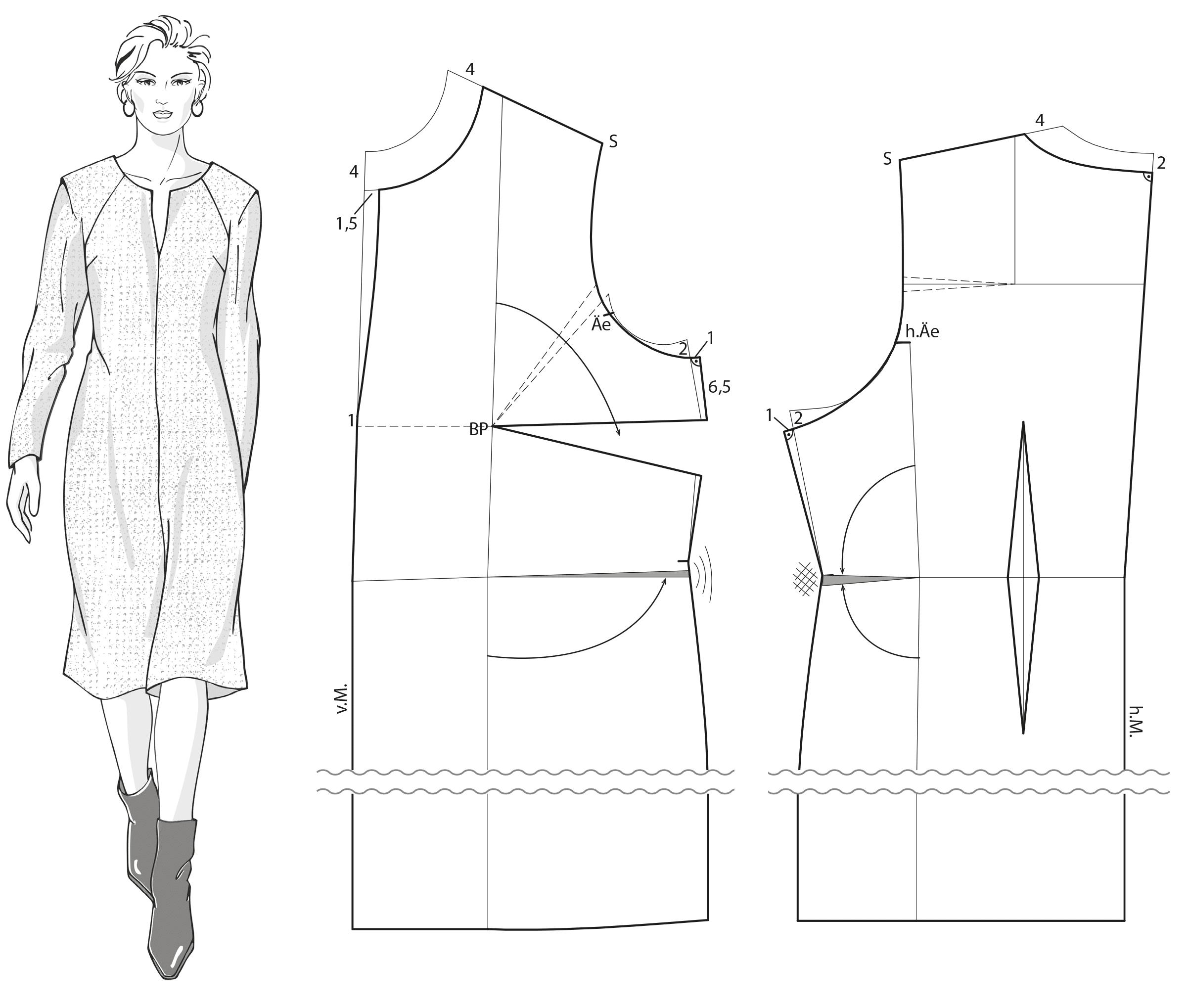Zu sehen ist die Schnitt-Technik für ein Kleid für Frauen mit großen Größen.
