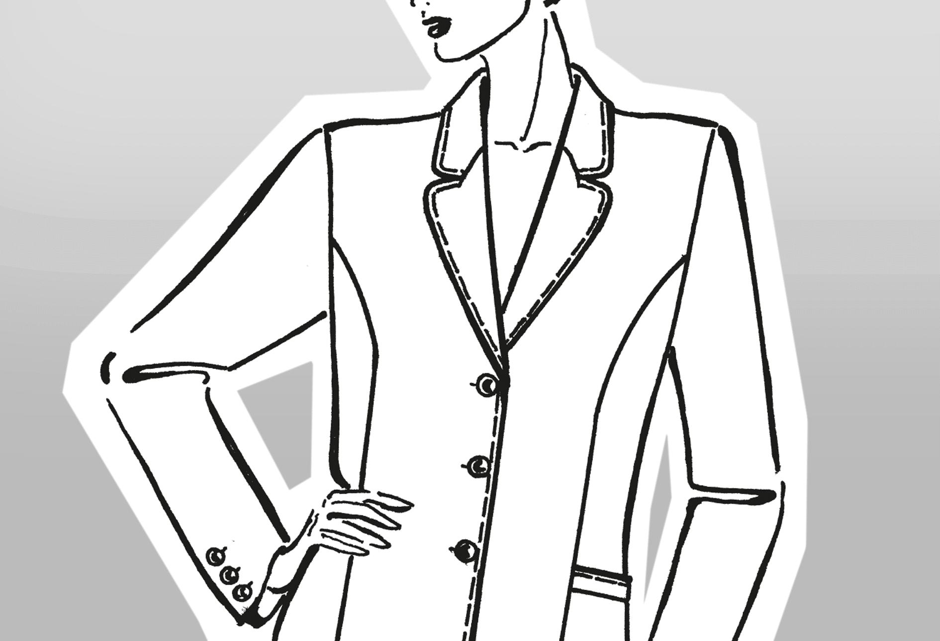 Zu sehen ist die technische Zeichnung eines Mantels mit Reverskragen mit Abnähervariante.