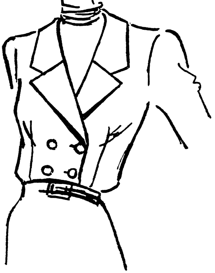 Die technische Zeichnung eines Reverskragens in Form eines Doppelreiher ist abgebildet. Dient als Vorlage für die Schnitt-Technik.
