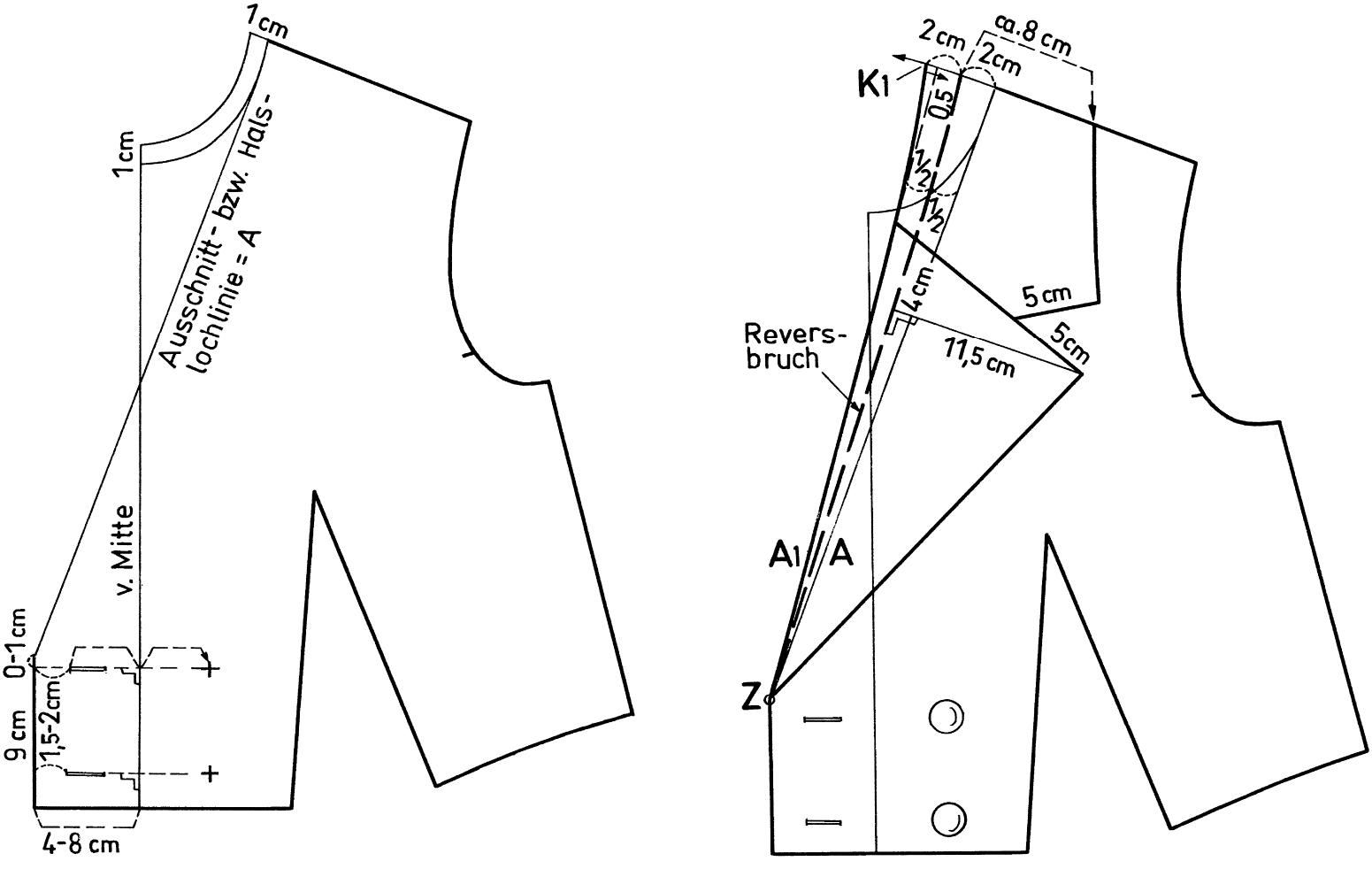 Zu sehen ist die Schnittkonstruktion eines Reverskragens in Form eines Doppelreihers.