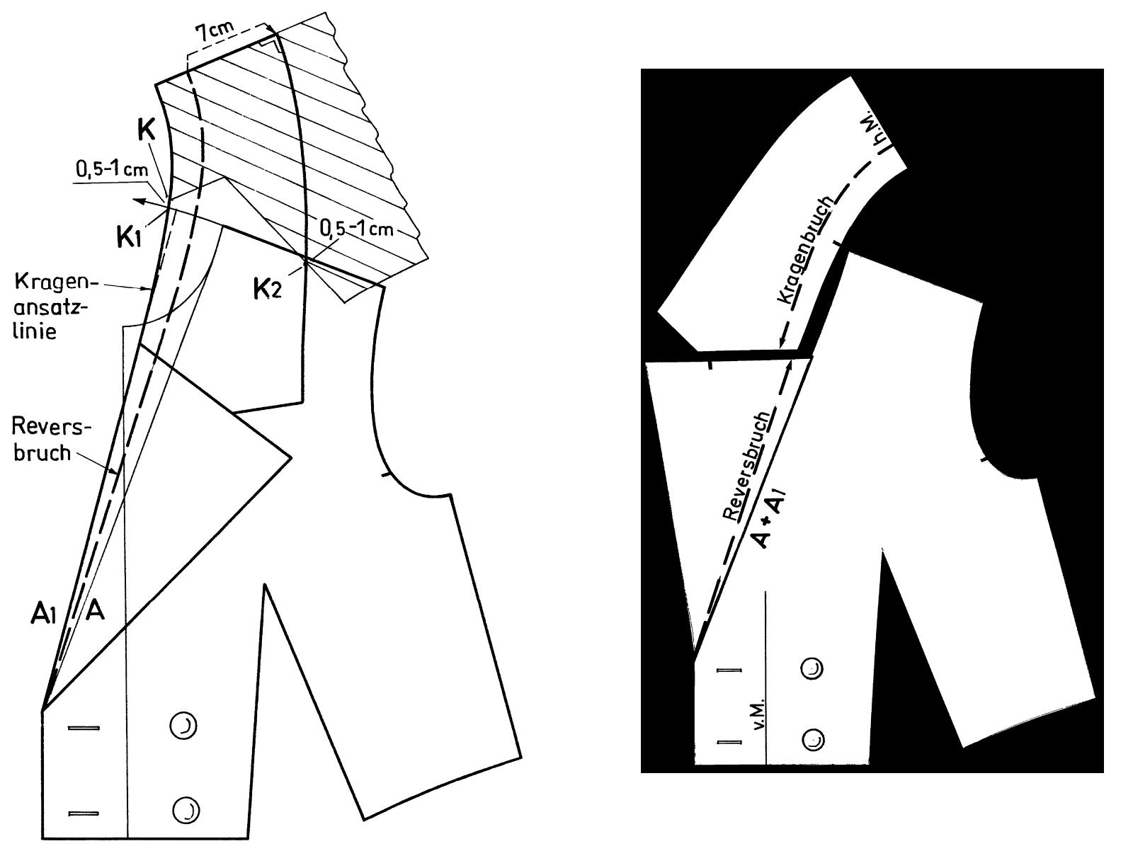 Zu sehen ist die Schnittkonstruktion eines Reverskragens in Form eines Doppelreihers plus fertiges Schnittteil.