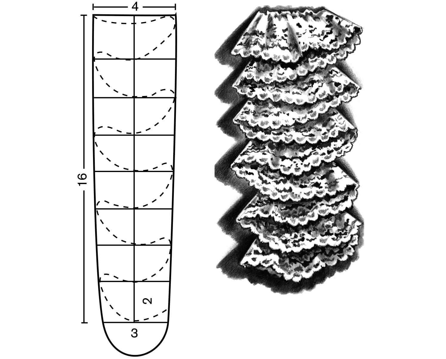 Ein Spitzenjabot ist aus Stoff genäht.