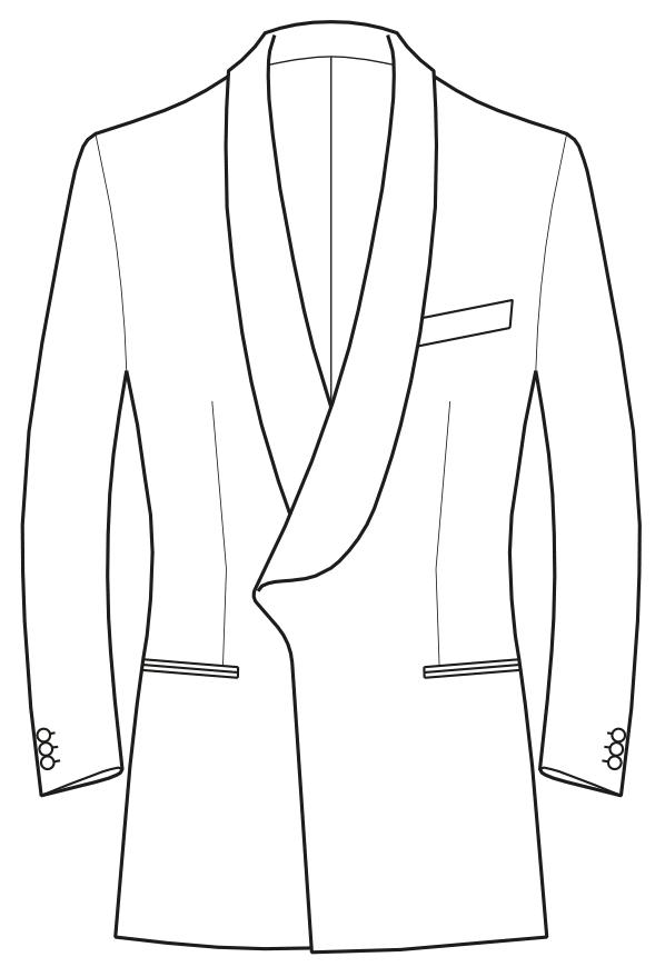 Die Abbildungt zeigt eine technische Zeichnung, die als Vorlage für die Schnittkonstruktion dient. Hier zu sehen ein Sakko mit Schalkragen.
