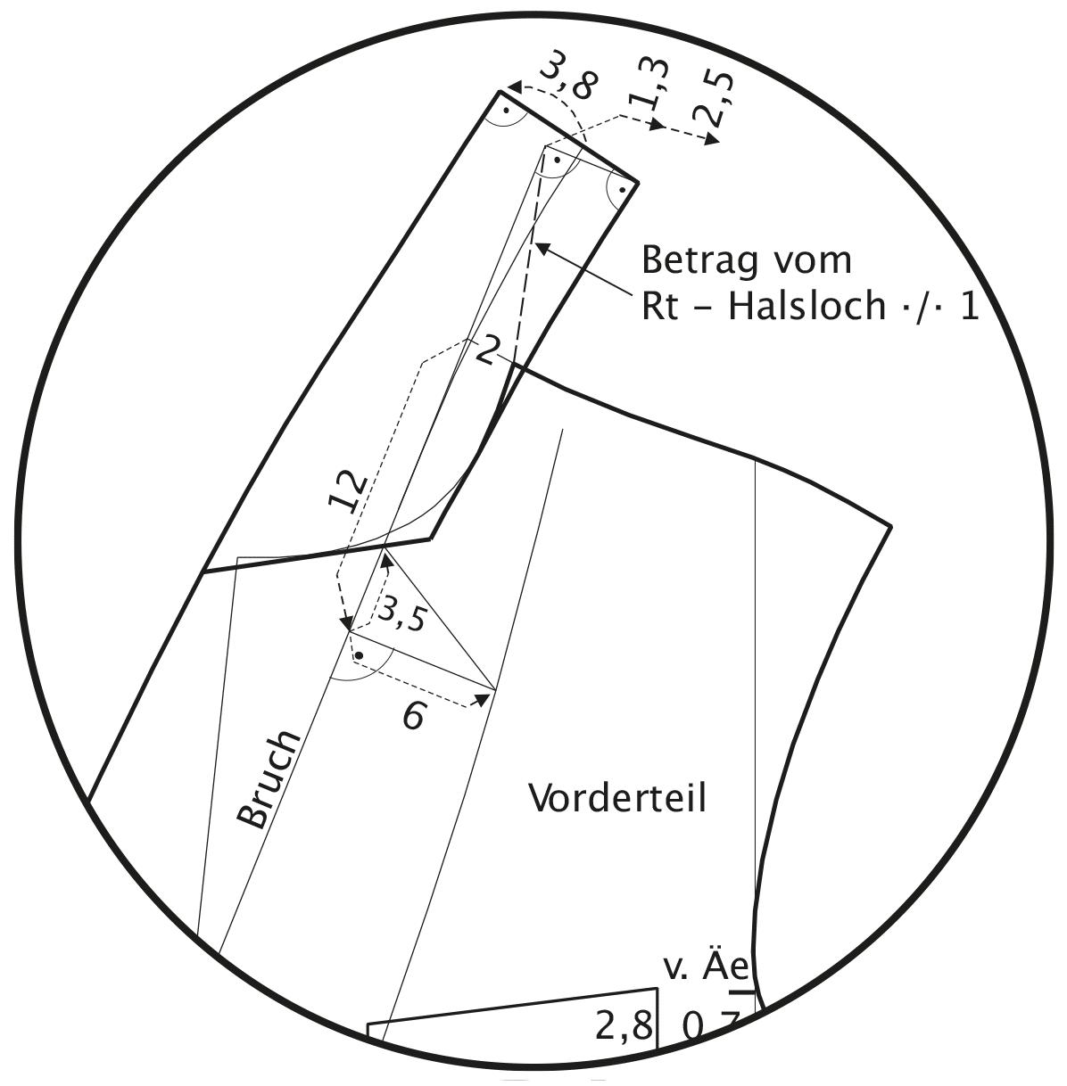 Die Abbildung zeigt die Schnittkonstruktion eines Schalkragens.