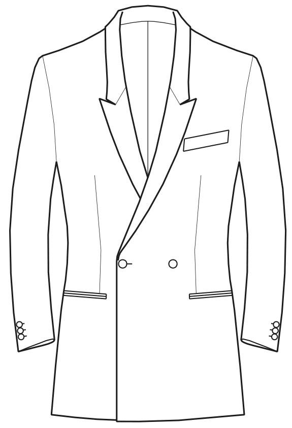 Die Abbildungt zeigt eine technische Zeichnung, die als Vorlage für die Schnittkonstruktion dient. Hier zu sehen ein Sakko mit Spitzrevers.