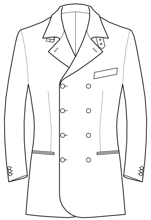 Die Abbildungt zeigt eine technische Zeichnung, die als Vorlage für die Schnittkonstruktion dient. Hier zu sehen ein Sakko mit Umlegekragen.