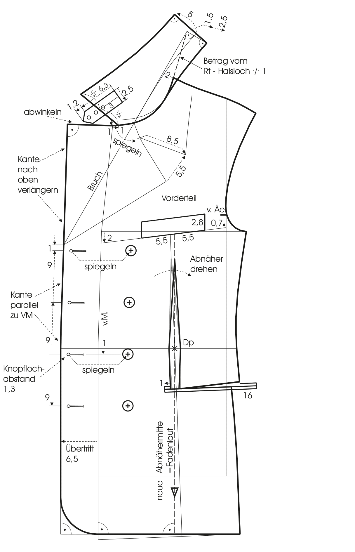 Die Abbildung zeigt die Schnittkonstruktion eines Umlegekragens.