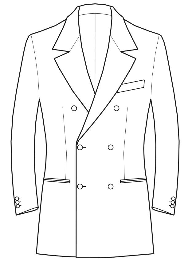 Die Abbildungt zeigt eine technische Zeichnung, die als Vorlage für die Schnittkonstruktion dient. Hier zu sehen ein Sakko mit gebrochenem Revers.