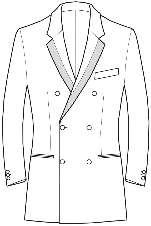 Die Abbildungt zeigt eine technische Zeichnung, die als Vorlage für die Schnittkonstruktion dient. Hier zu sehen ein Sakko mit gebrochenem Revers.Die Abbildungt zeigt eine technische Zeichnung, die als Vorlage für die Schnittkonstruktion dient. Hier zu sehen ein Sakko mit geteiltem Reverskragen.
