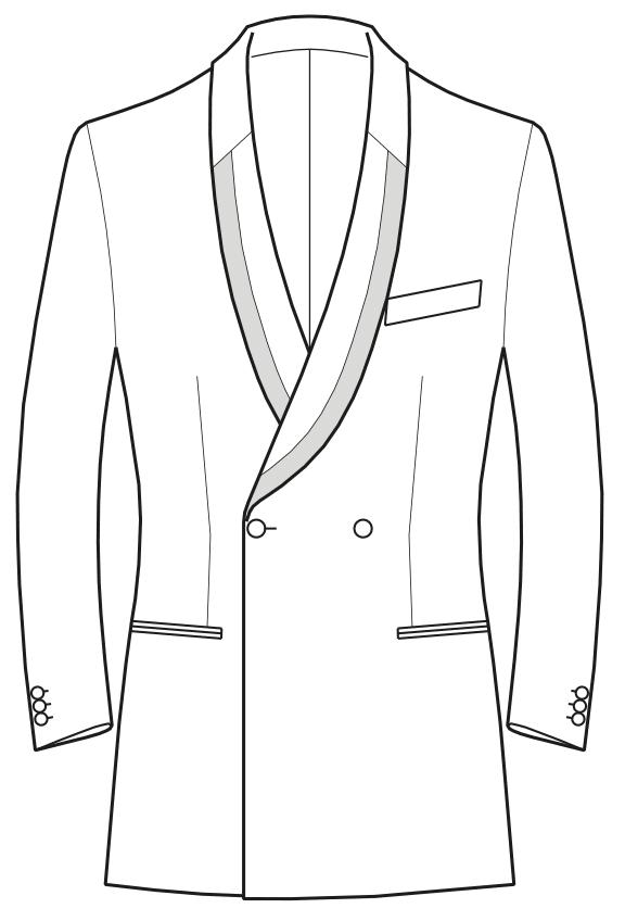 Die Abbildungt zeigt eine technische Zeichnung, die als Vorlage für die Schnittkonstruktion dient. Hier zu sehen ein Sakko mit geteiltem Schalkragen.