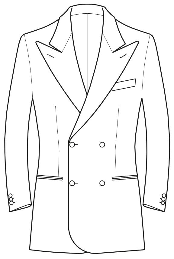 Die Abbildungt zeigt eine technische Zeichnung, die als Vorlage für die Schnittkonstruktion dient. Hier zu sehen ein Sakko mit Lanzenrevers.