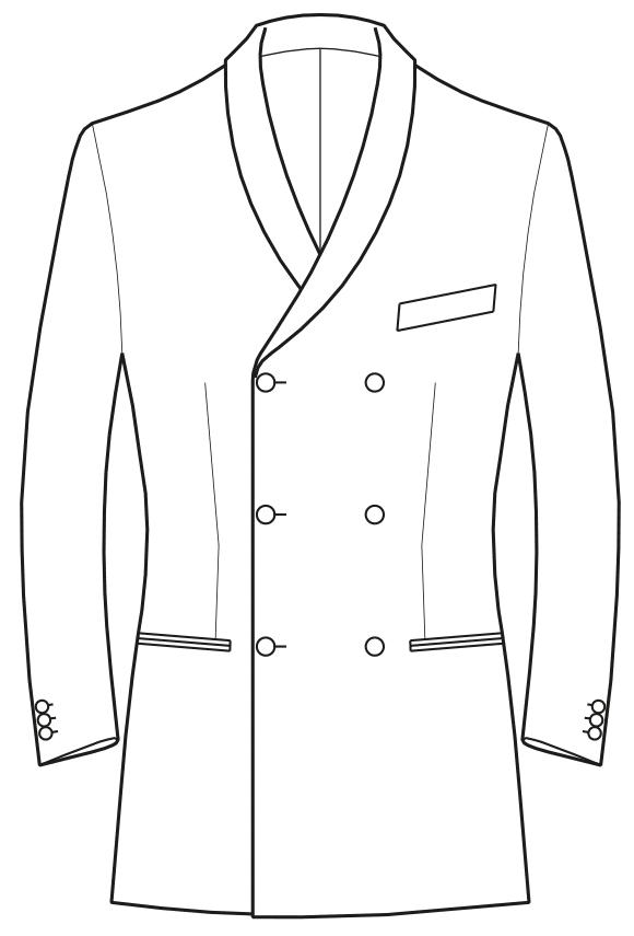 Die Abbildungt zeigt eine technische Zeichnung, die als Vorlage für die Schnittkonstruktion dient. Hier zu sehen ein Sakko mit schmalem Schalkragen.