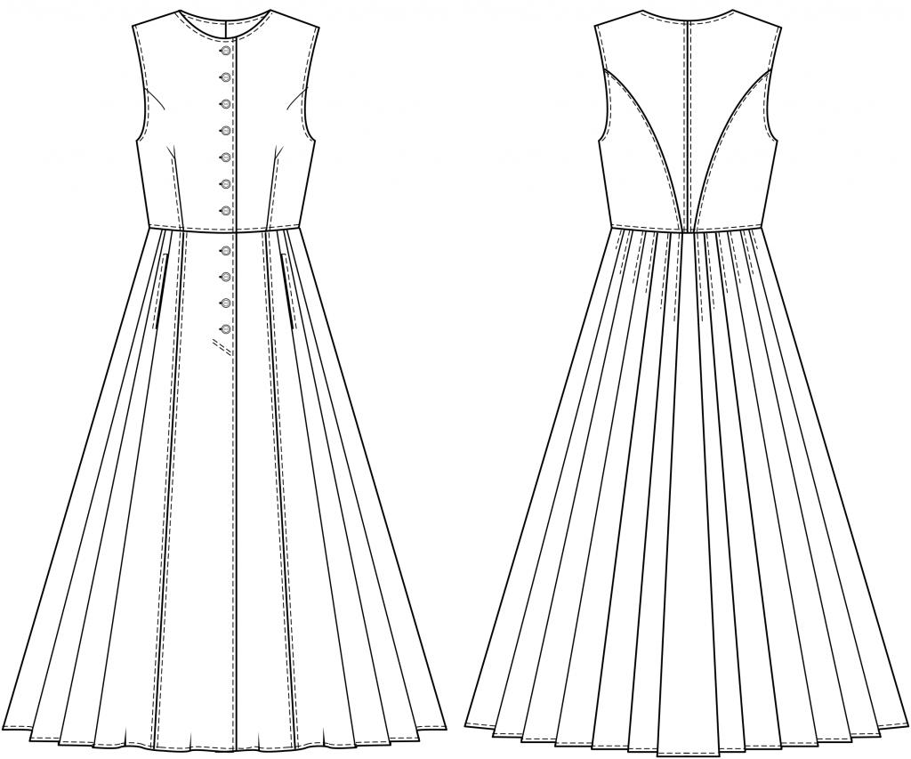 Diese technische Zeichnung zeigt die Vorder-und Rückansicht von eines Trachtenkleides für Kinder Dieses Modell gibt es als Schnittmuster.
