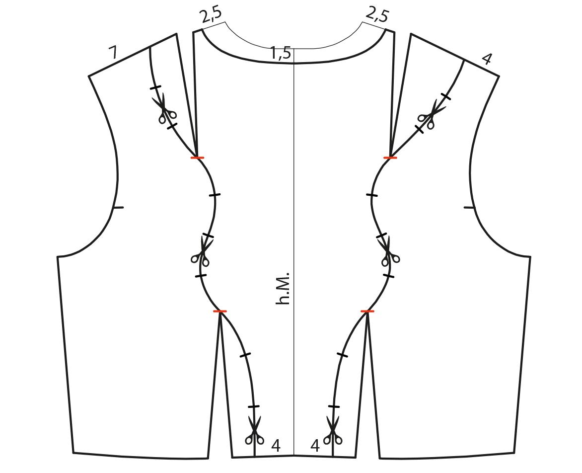 Abgebildet ist die Schnittkonstruktion als Vorbereitung für die Drapierung mit Stoff.