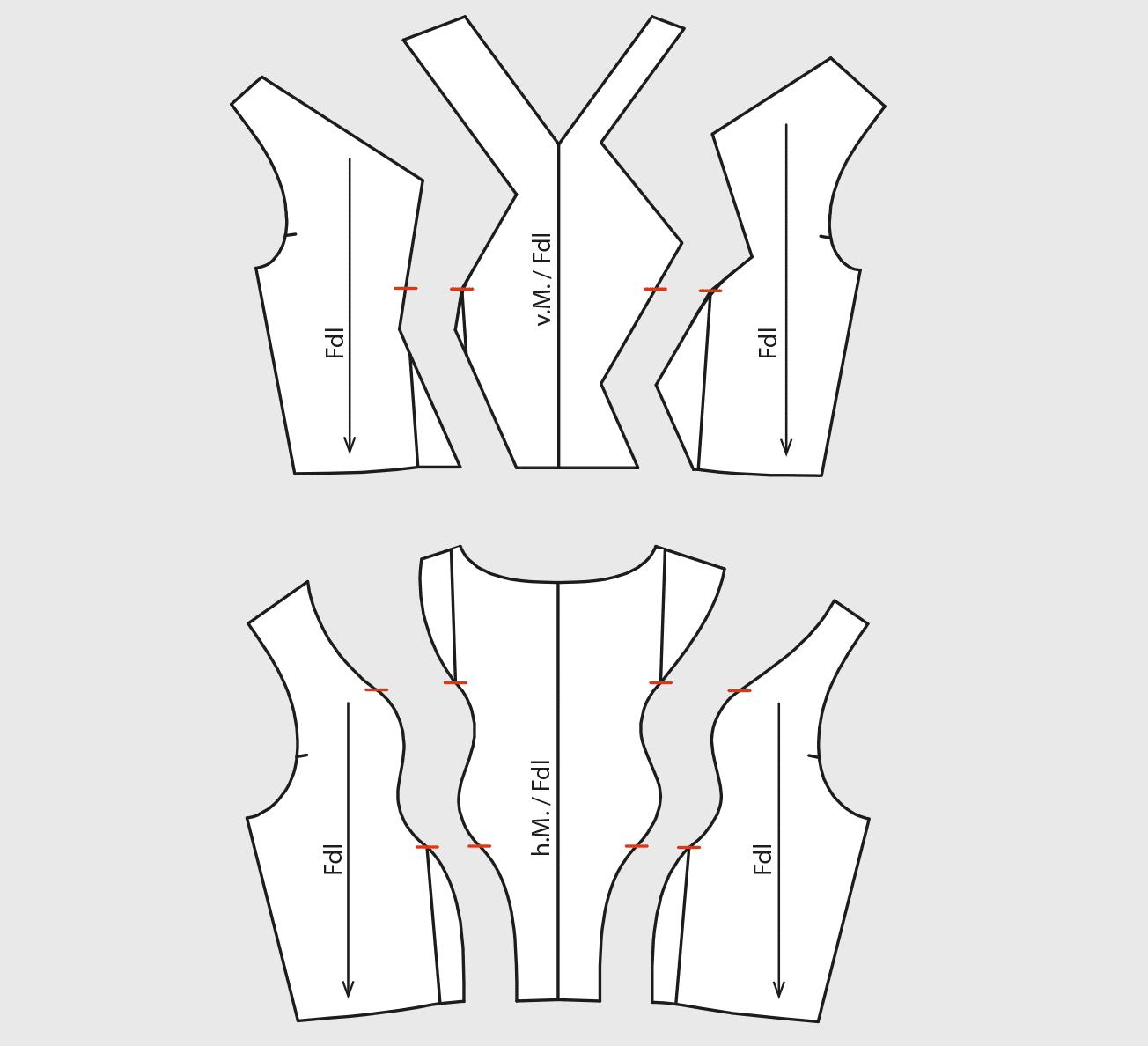 Zu sehen sind die einzelnen Schnittteile von der Schnitt Drapage mit Shingo Sato.