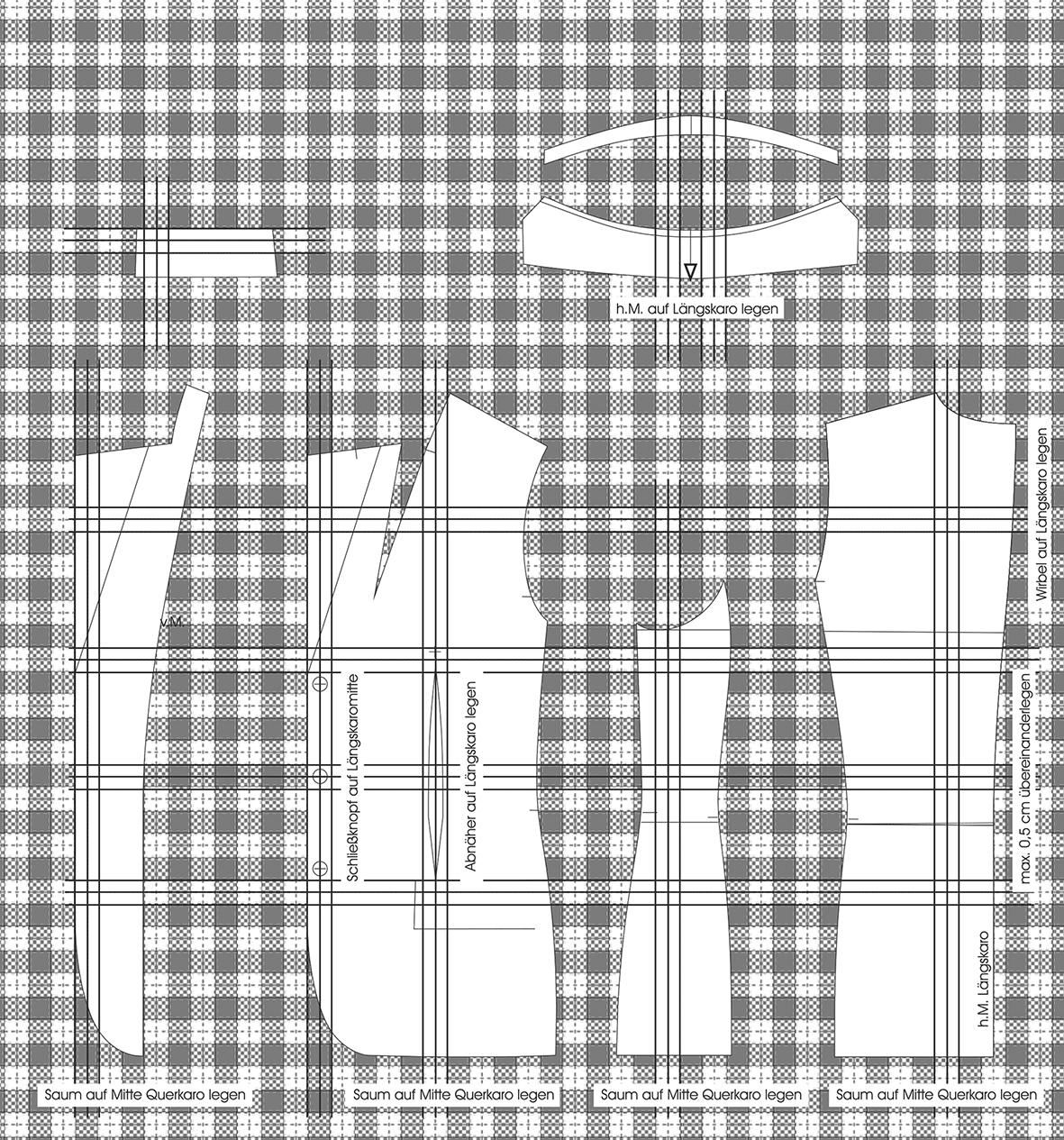 Zu sehen ist die Schnittgestaltung für Karomaterial. Die einzelnen Schnittteile sind abgebildet.
