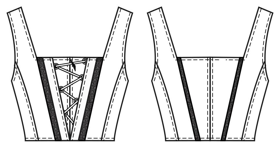 Diese technische Zeichnung zeigt die Vorder-und Rückansicht von eines Schnürmieders für Kinder Dieses Modell gibt es als Schnittmuster.