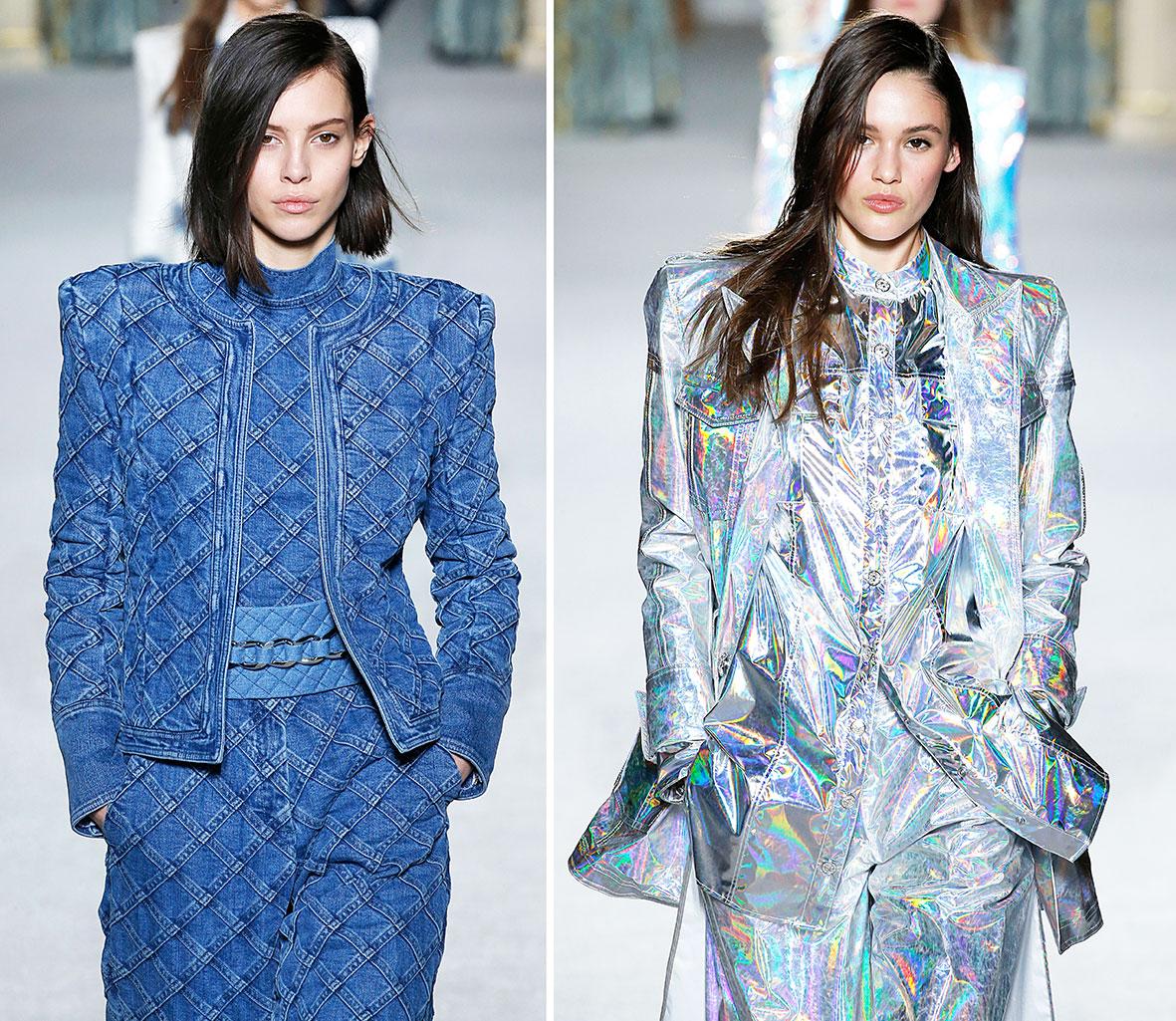 Models in Jacken mit Schulterpolstern