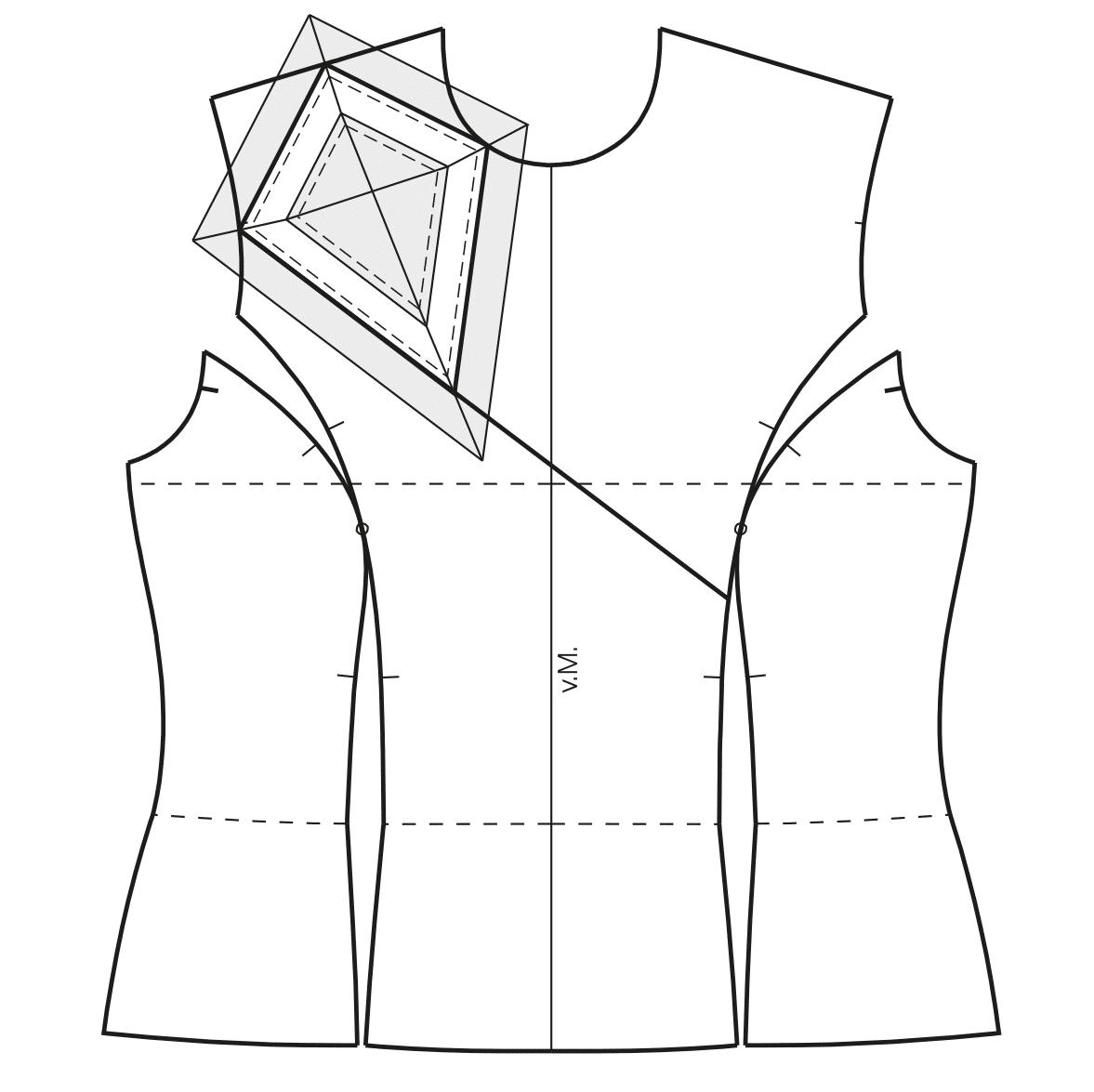 Abgebildet ist die Schnittkonstruktion für den geometrischen Kragen.