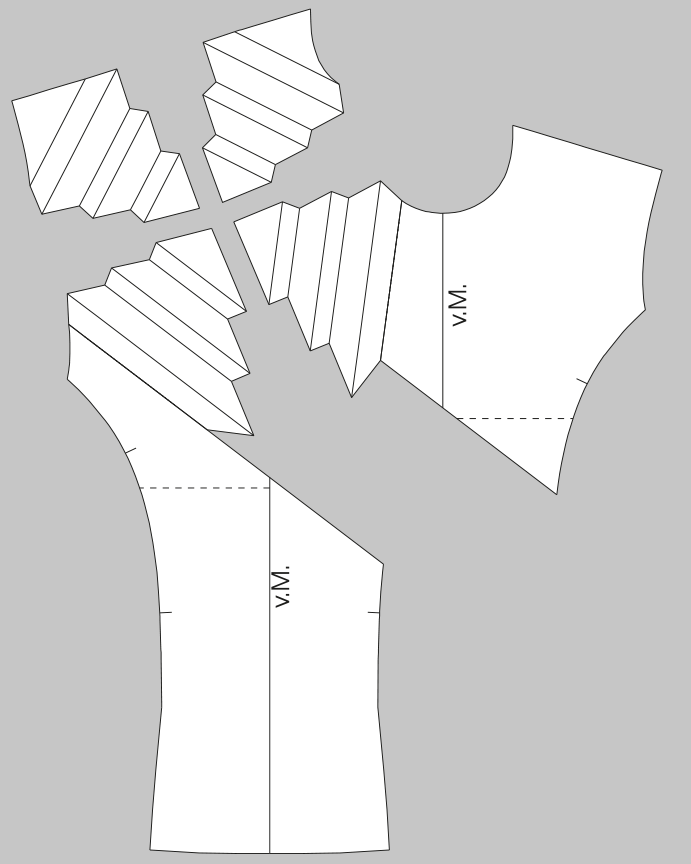 Abgebildet ist die Schnittkonstruktion für den geometrischen Kragen. Abgebildet sind die Schnittteile.