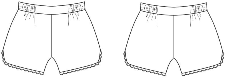 Die Abbildung zeigt die Schnitt-Technik von einer Shorts. Die Zeichnung dient als Vorlage für die Schnitterstellung.